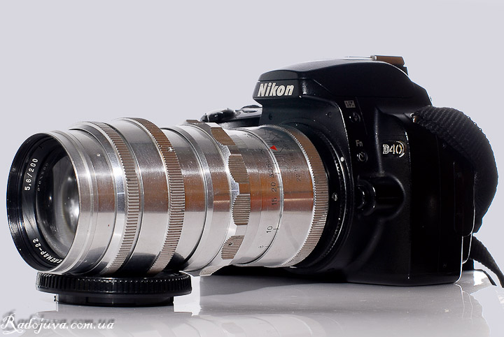 Вид объектива Телемар-22 F5.6 200мм на камере Nikon D40