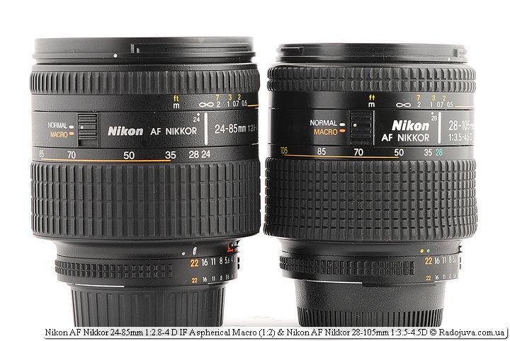 Nikon AF Nikkor 24-85mm 1:2.8-4 D IF Aspherical Macro (1:2) и Nikon AF Nikkor 28-105mm 1:3.5-4.5D
