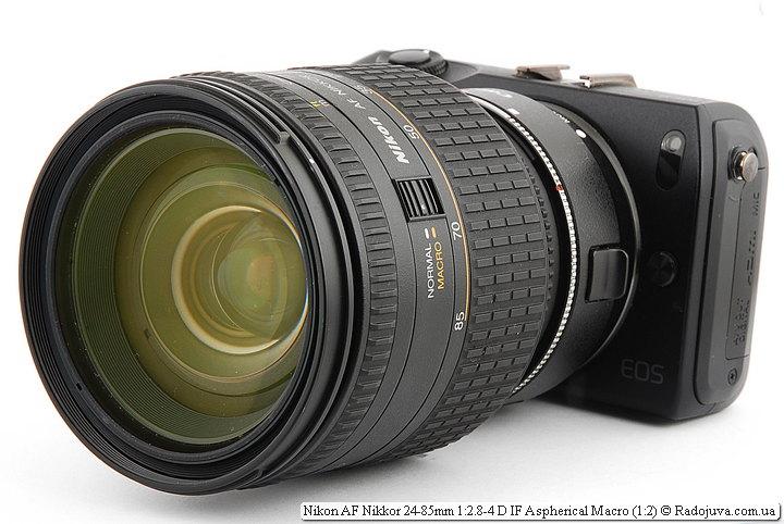 Nikon AF Nikkor 24-85mm 1:2.8-4 D IF Aspherical Macro (1:2) на камере Canon EOS M