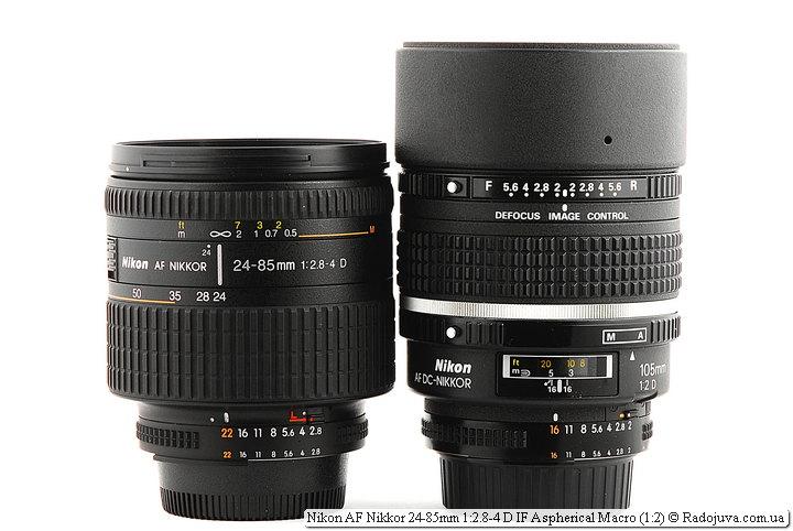 Разнима в размерах между Nikon AF Nikkor 24-85mm 1:2.8-4 D IF Aspherical Macro (1:2) и 105 dc