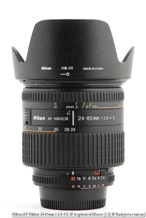 Nikon AF Nikkor 24-85mm 1:2.8-4 D IF Aspherical Macro (1:2) с блендой