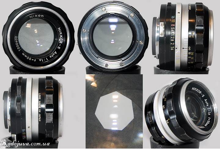 Nikon Nikkor-S Auto 1 review: 1.4 f = 50mm view from different sides