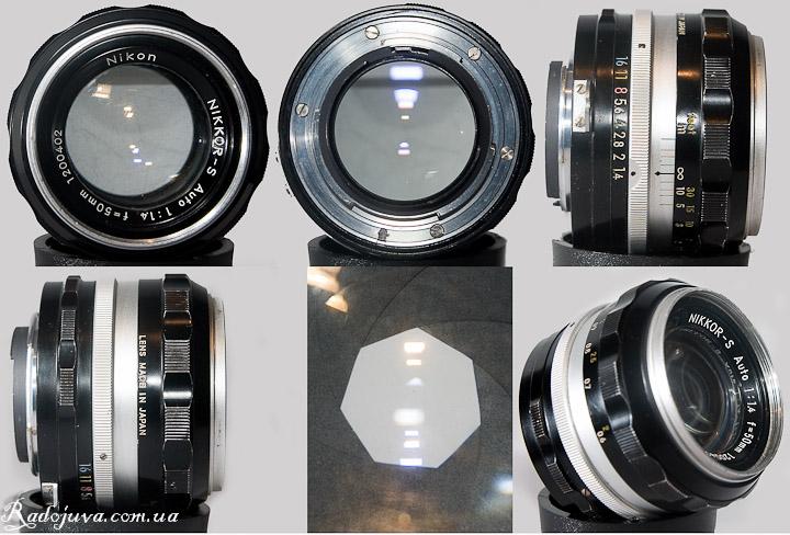 Обзор Nikon Nikkor-S Auto 1:1.4 f=50mm вид с разных сторон