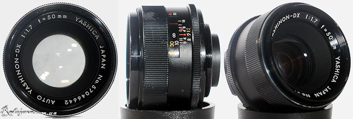 Вид Обзор Yashica Auto Yashinon-DX 1:1,7 f=50mm с разных сторон