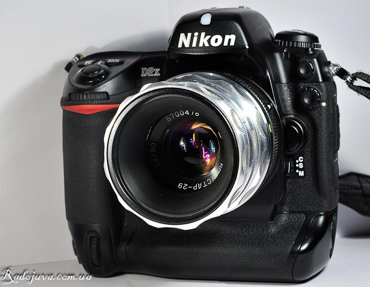 Вид Индустар-29 2.8 80 на современной камере