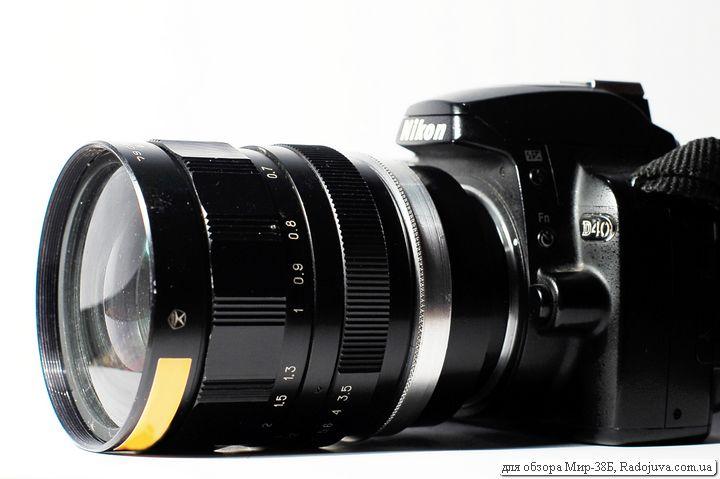 Вид Мир-38Б 3,5/65 на современной камере