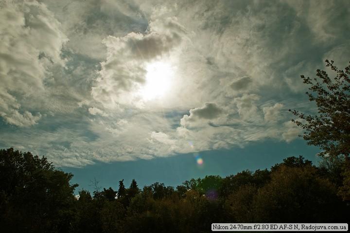 Осеннее небо я ясным солнцем