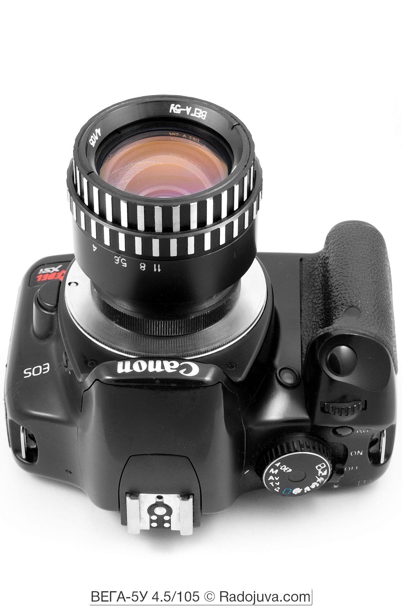 Вега-5У 4/105, объектив показан на камере Canon EOS DIGITAL Rebel XSi. Установлен с помощью переходников M42-Canon EOS и макроколец M42.