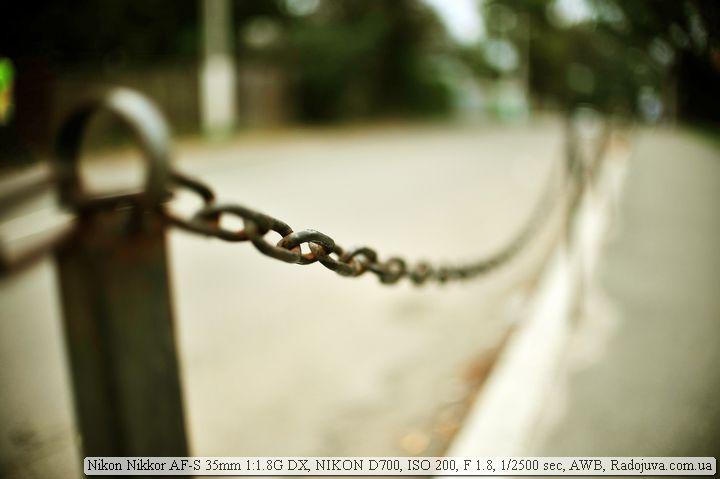 Цепь на Nikon 35mm F1.8G DX и полный кадр
