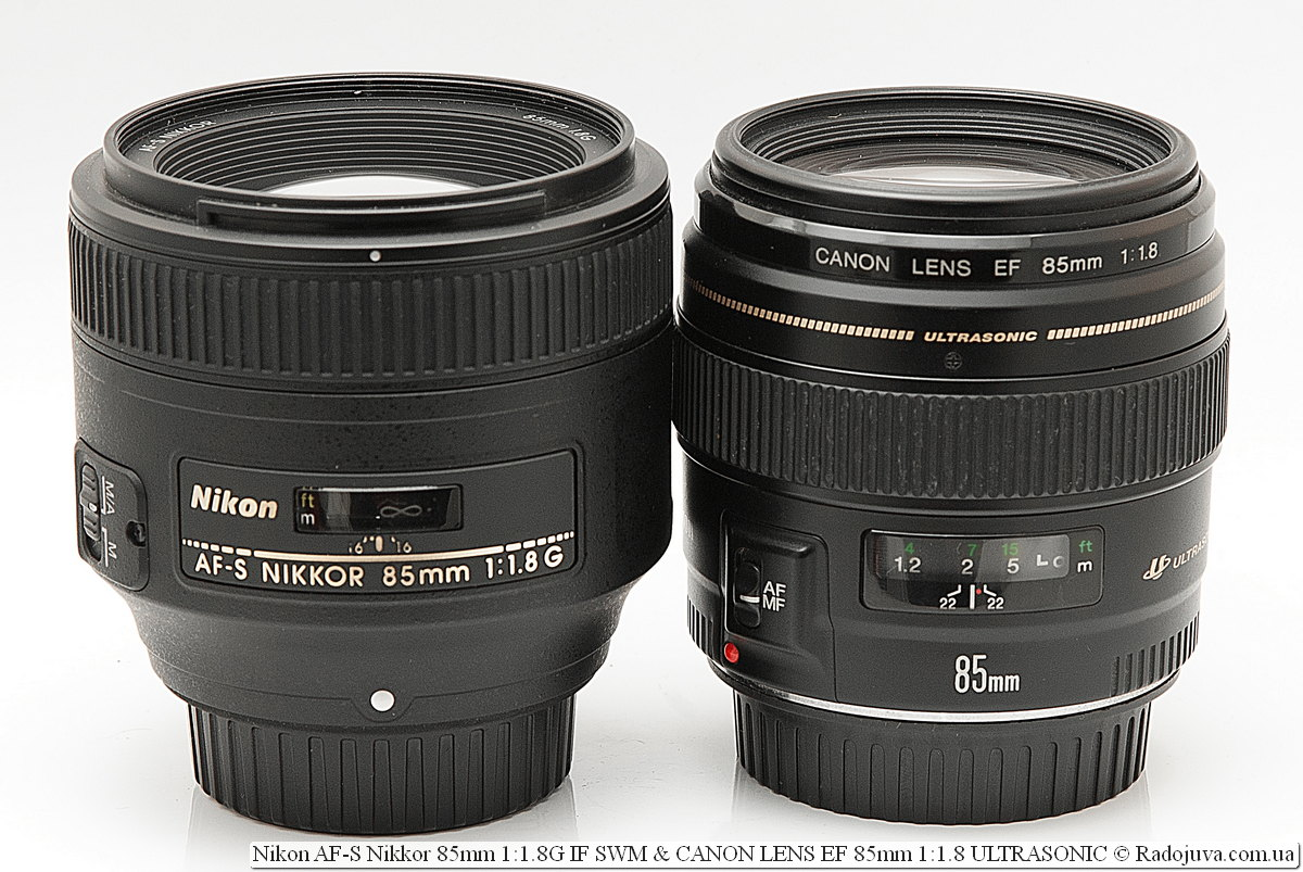 Nikon AF-S Nikkor 85mm 1:1.8G IF SWM и Canon LENS EF 85mm 1:1.8 ULTRASONIC USM