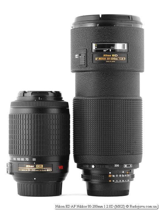 Nikon DX AF-S Nikkor 55-200mm 1:4-5.6G ED VR IFи Nikon ED AF Nikkor 80-200mm 1:2.8D (MKII)