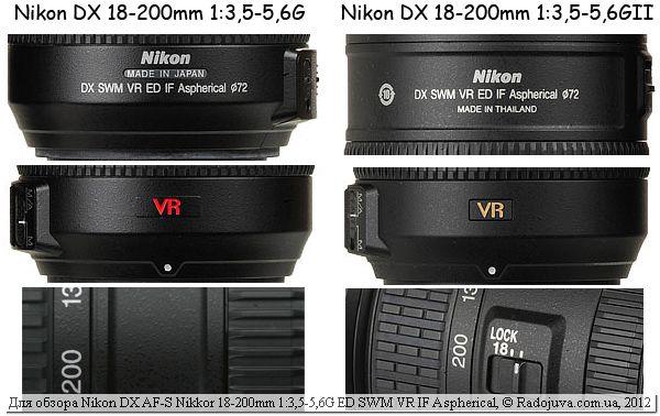 Визуальное различие двух версий Nikon 18-200мм