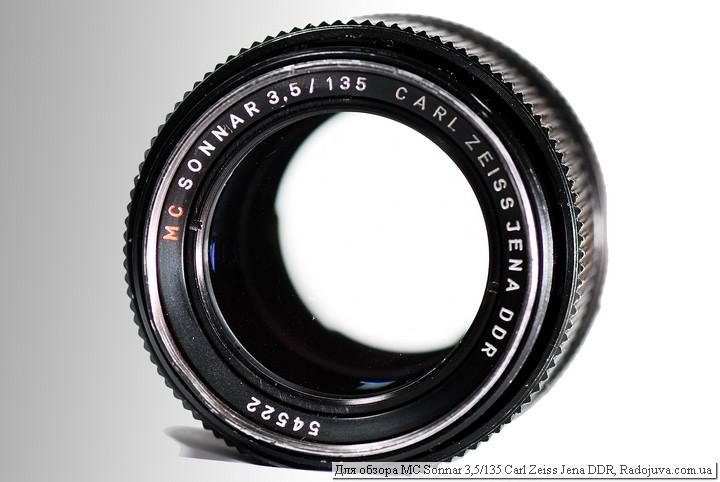 Вид объектива MC Sonnar 3,5/135 Carl Zeiss Jena DDR, вид спереди