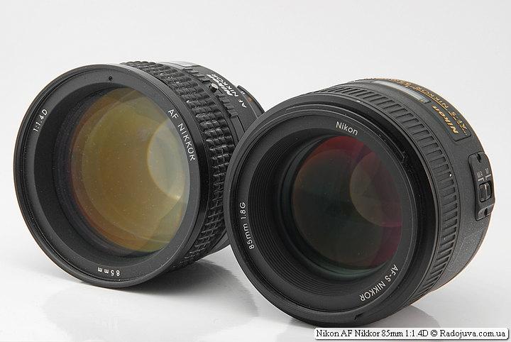 Nikon AF Nikkor 85mm 1:1.4D и Nikon AF-S Nikkor 85mm 1:1.8G IF SWM