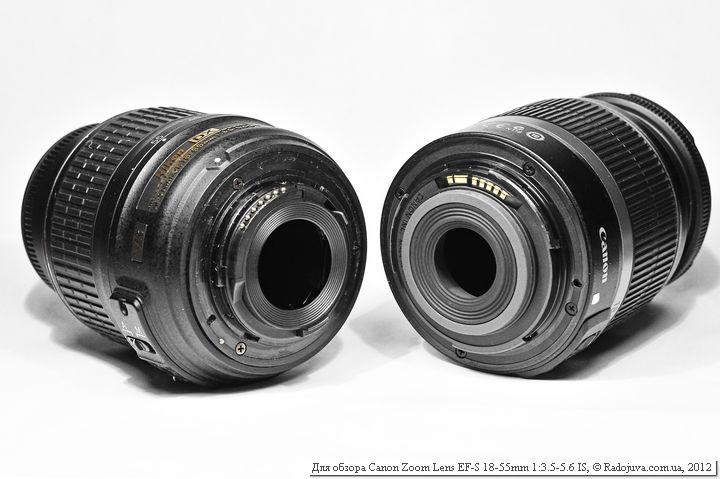 Два китовых объективов - слева Nikon, справа Canon