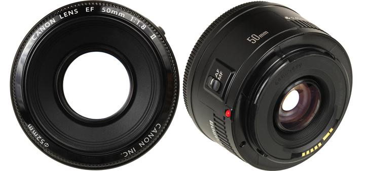 Вид Canon EF 50mm F/1.8 II спереди и сзади