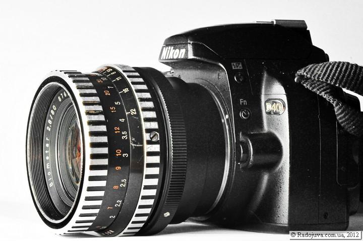 Вид объектива Carl Zeiss Jena Biometar 2.8/80 с переходником на современной камере Nikon