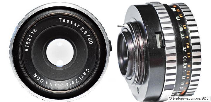 Вид объектива Carl Zeiss Jena DDR Tessar 2.8/50 (zebra)