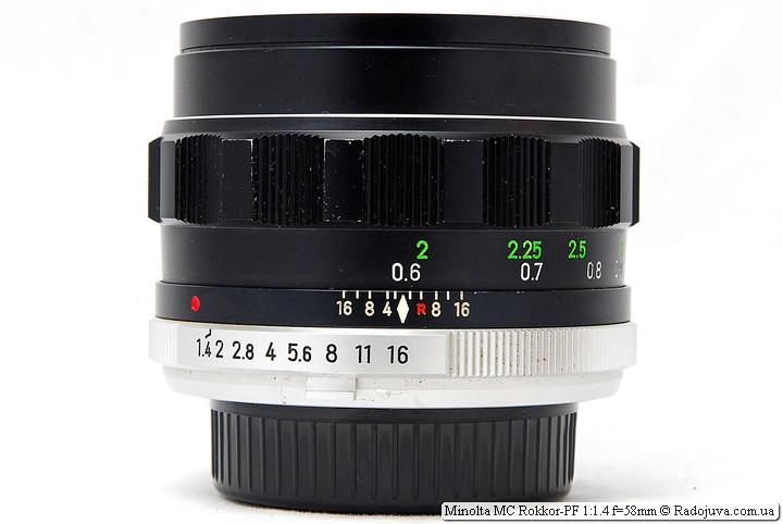 Minolta MC Rokkor-PF 1:1.4 f=58mm при фокусировке на МДФ