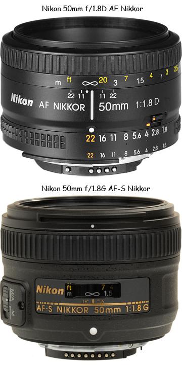 Nikon F1.8D AF 50mm и Nikon F1.8G AF-S 50mm