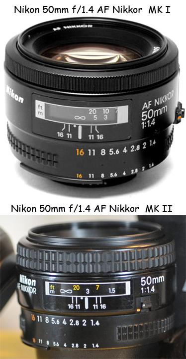 Nikon 50mm f/1.4 AF Nikkor, MK I и MK II