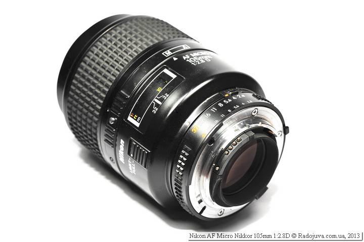 Вид объектива Nikon AF 105 mm f 2.8 D Micro Nikkor