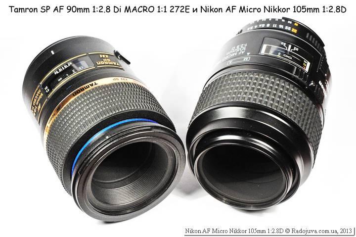 Вид объектива Nikon AF 105 mm f 2.8 D Micro Nikkor и Tamrn 90 2.8 AF