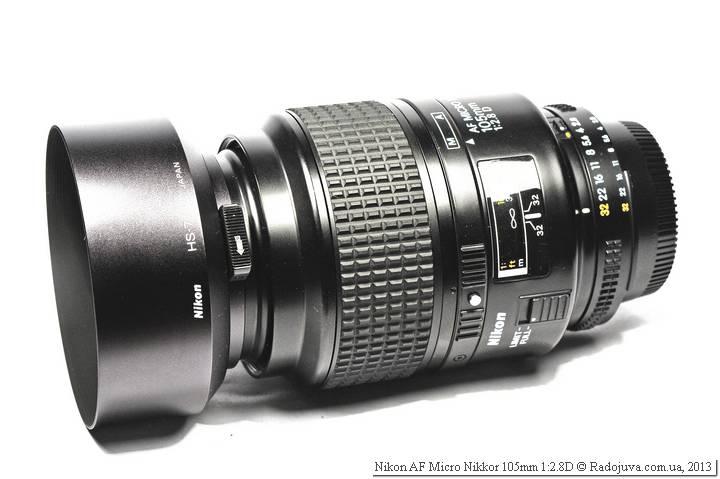 Вид объектива Nikon AF 105 mm f 2.8 D Micro Nikkor с блендой HS-7