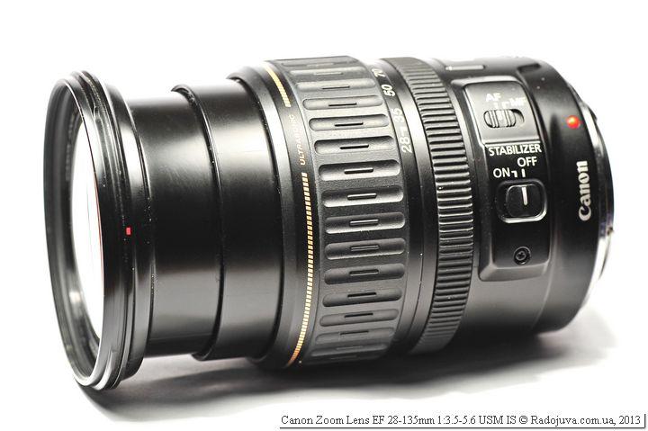 Вид объектива Canon EF 28-135mm f/3.5-5.6 USM IS при 135мм фокусного расстояния с вытянутым хоботом