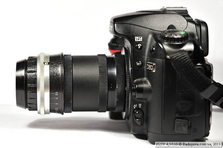 Вид объектива Индустар-23У 4,5 110 на современной камере