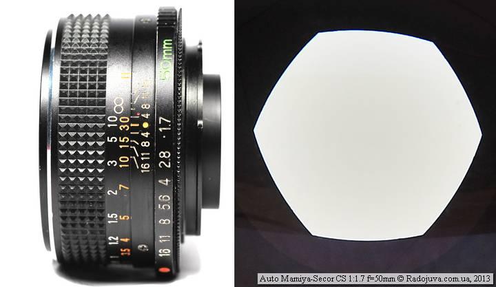 Вид объектива Mamiya Sekor CS 50 mm f/ 1.7 auto
