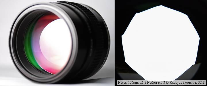 Просветление и вид диафрагмы объектива Nikon 105mm 1:1.8 Nikkor AI-S