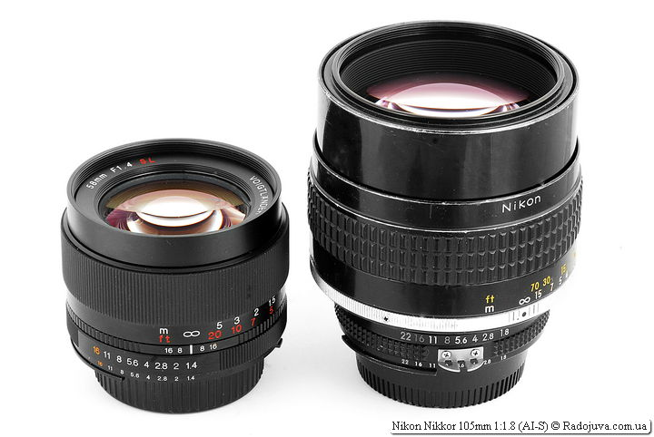Voigtlander Nokton 58mm F1.4 SL N/AI-S и Nikon Nikkor 105mm 1:1.8 (AI-S)