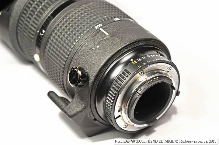Вид байонета объектива Обзор Nikon ED AF Nikkor 80-200mm 1:2.8D MKIII