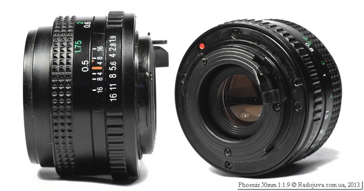 Вид объектива Phoenix 50 1.9 с разных сторон
