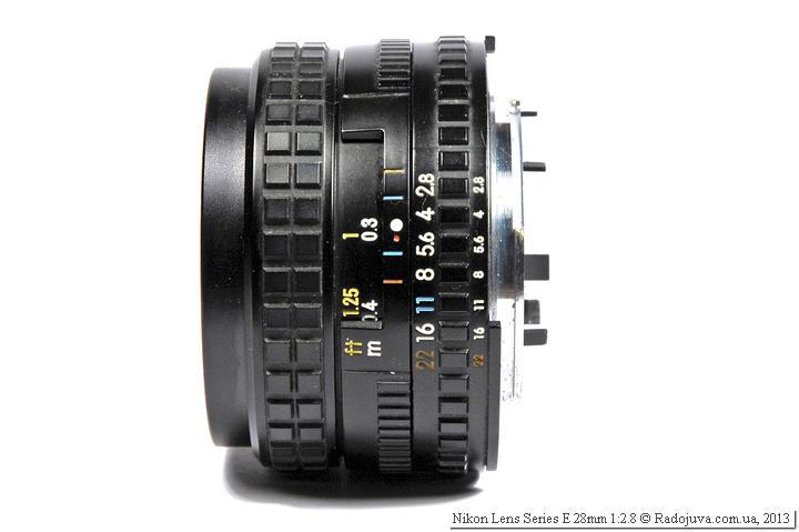 Nikon E 2.8/28 - вид сбоку