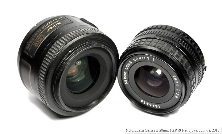 Размеры Nikkor 35mm f1.8g и Nikon E 2.8 28