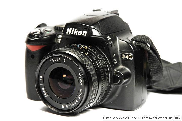 Nikon E 2.8 28 - вид на современной камере