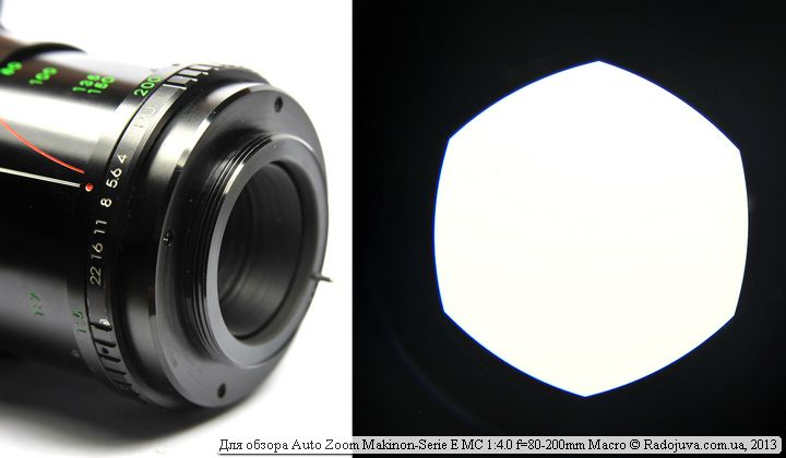 Вид задней части Makinon 80-200 4.0 и отверстия диафрагмы