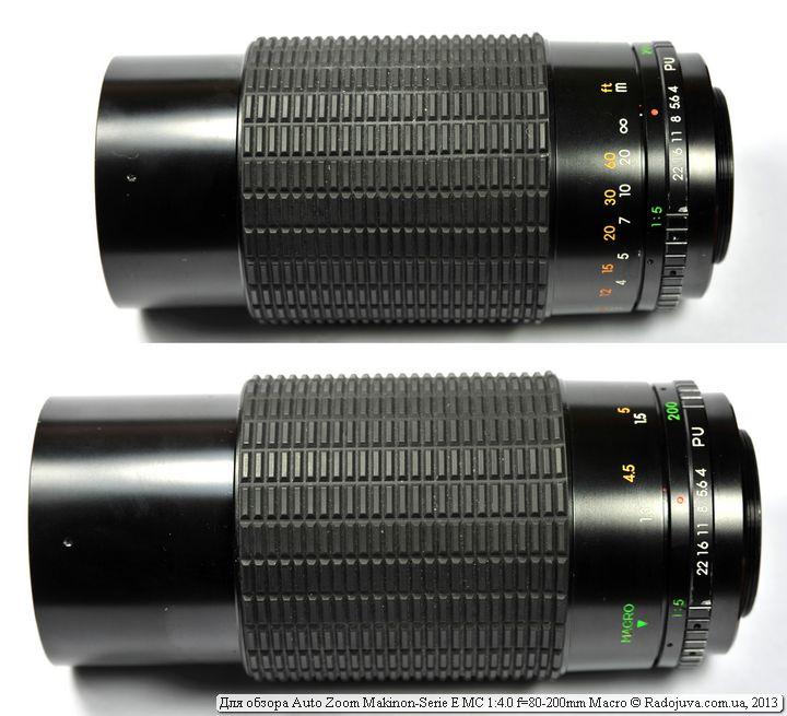Изменение размеров Makinon 80-200/4.0 при фокусировке