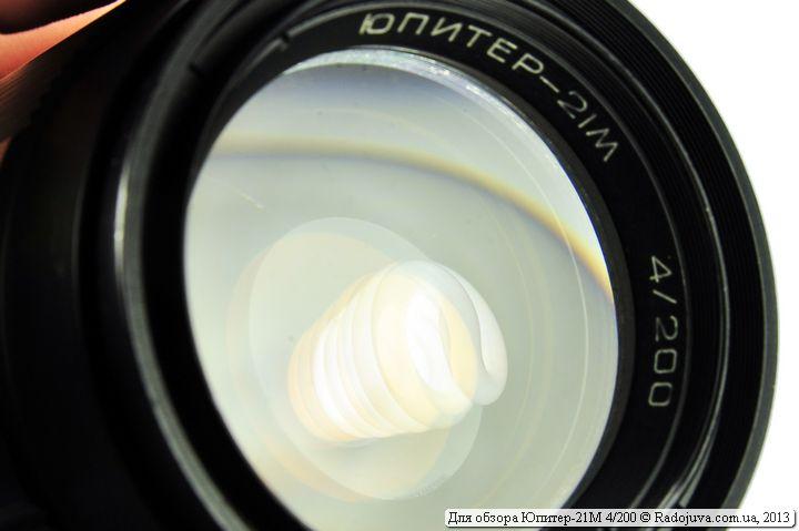 Просветление передней линзы объектива Юпитер-21М F4 200mm