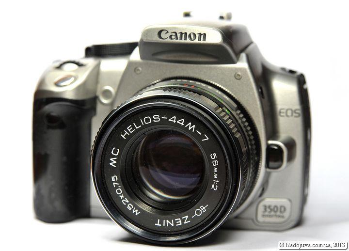 Вид объектива МС Гелиос 44м-7 2 58 на цифровой камере