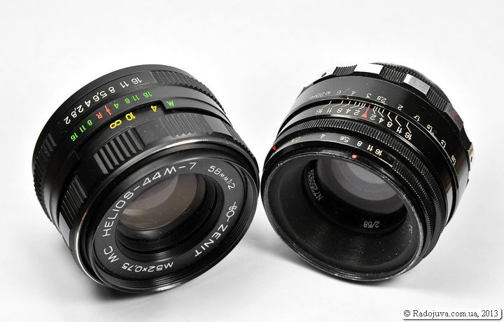 Two lenses: MC HELIOS-44M-7 58mm 1: 2 and Helios 44-2 2 58