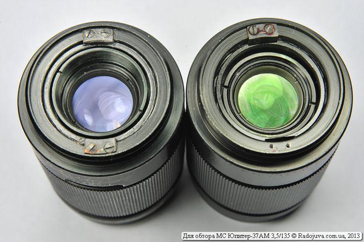 Разница в просветлении задней линзы  Юпитер-37А 3,5/135 и МС Юпитер-37АМ 3,5/135