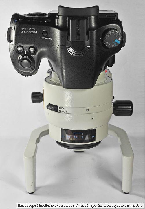 Вид объектива Minolta AF Macro Zoom 3x-1x с камерой
