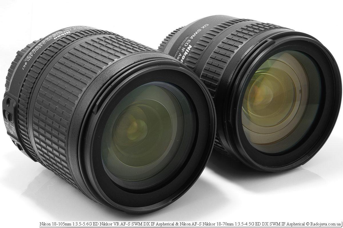 Nikon 18-105mm 1: 3.5-5.6G ED Nikkor VR AF-S SWM DX IF Aspherical and Nikon AF-S DX Nikkor 18-70mm f / 3.5-4.5G ED-IF