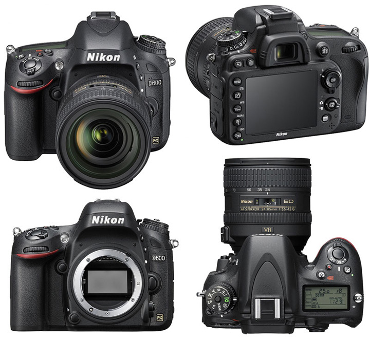 This is how the Nikon D600 camera looks from different sides without a lens (body) and with a lens (kit)