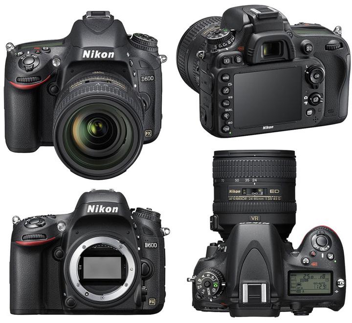 Так выглядит фотоаппарат Nikon D600 с разных сторон без объектива (body) и с объективом (kit)