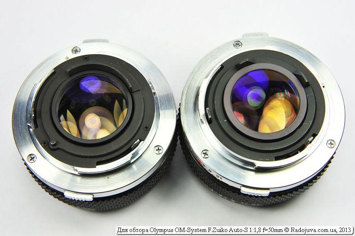 Просветление задней линзы объективов Zuiko 50 1,8