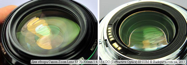 Просветление и вид передней и задней линзы Canon 70-300mm DO IS USM
